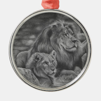 Lion family Silver-Colored round decoration