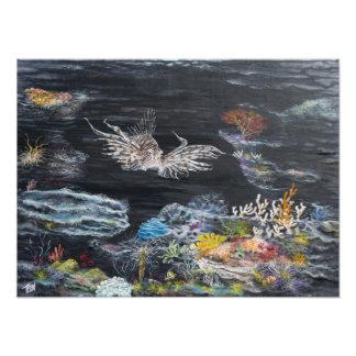 Lion fish painting on photo