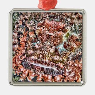 Lion Fish Silver-Colored Square Decoration