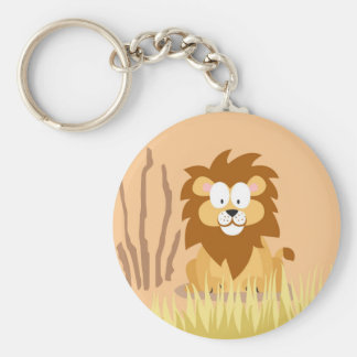 Lion from my world animals serie basic round button key ring