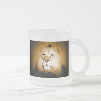 Lion Frosted Glass Coffee Mug