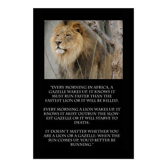 Lion Gazelle Running Quote Poster