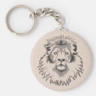 Lion Head Basic Round Button Key Ring