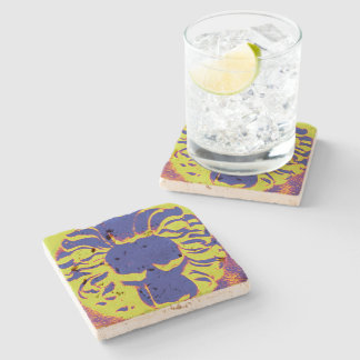 Lion head blue and yellow coaster