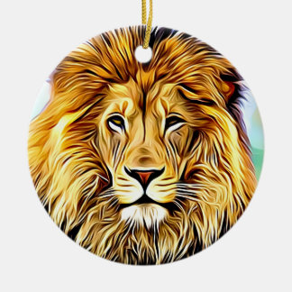 Lion head Digital painting Christmas Ornament