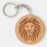 Lion head engraved on wood design basic round button key ring