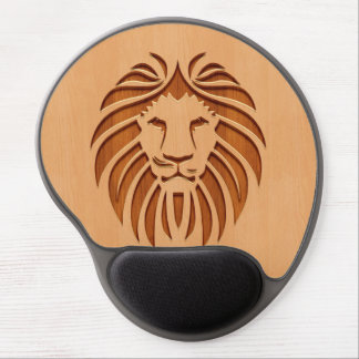 Lion head engraved on wood design gel mouse mat