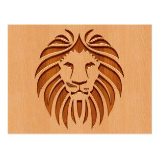 Lion head engraved on wood design postcard