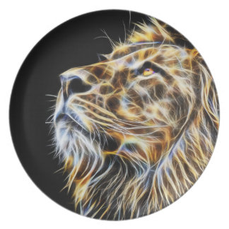 Lion Head Glowing Fractalius Plate