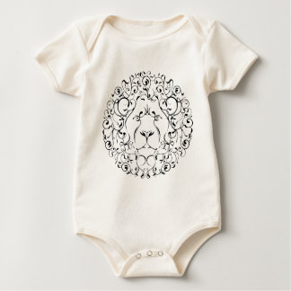 lion head leaf mystical magical circle design baby bodysuit