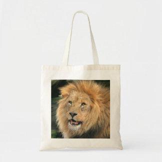 lion head male beautiful photo shopping tote bag