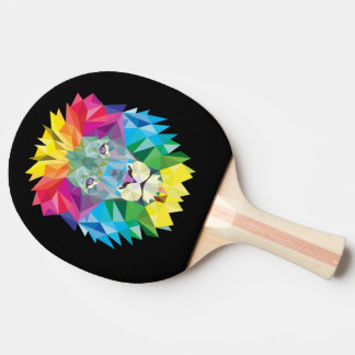 Lion Head on Black Ping Pong Paddle