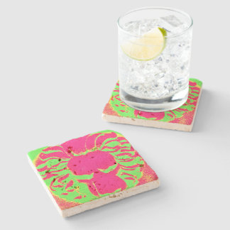 Lion head pink and lime coaster