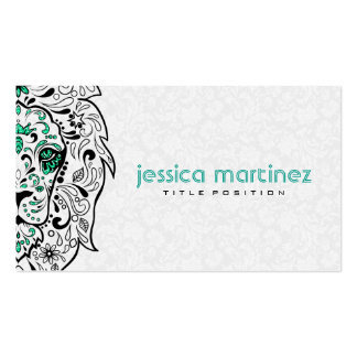Lion Head Sugar Skull With White Damasks Pack Of Standard Business Cards