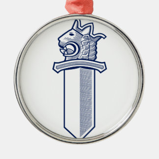 Lion Head Sword Silver-Colored Round Decoration