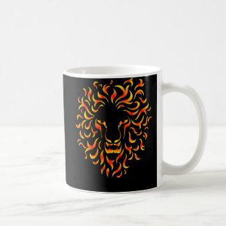 Lion Head with ethnic fire colors. M1. Basic White Mug