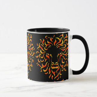 Lion Head with ethnic fire colors. M1. Mug