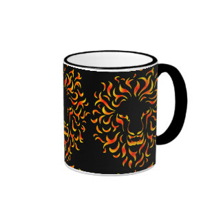 Lion Head with ethnic fire colors. M1. Ringer Mug