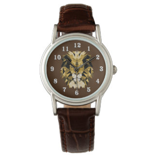 Lion Head with White Numbers Watch