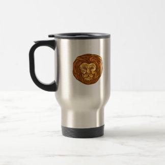 Lion Head Woodcut Linocut Coffee Mugs