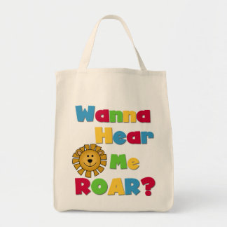 Lion Hear Me Roar T-shirts and Gifts Grocery Tote Bag