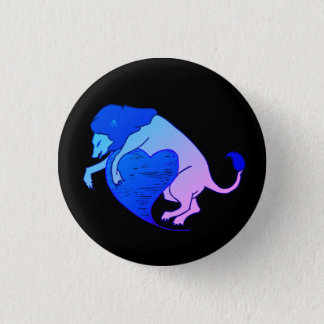 Lion Heart (Blue) 3 Cm Round Badge