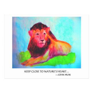 Lion Heart - Wild Animal Conservation John Muir Postcard