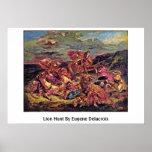 Lion Hunt By Eugene Delacroix Print