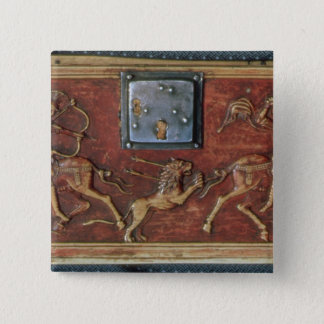 Lion Hunt, plaque from a Byzantine casket, 11th ce 15 Cm Square Badge