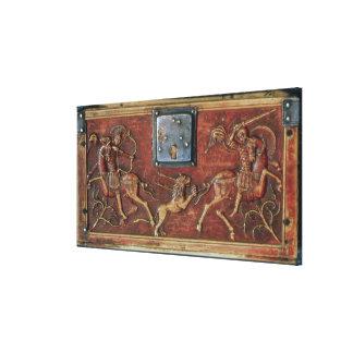 Lion Hunt, plaque from a Byzantine casket, 11th ce Canvas Print