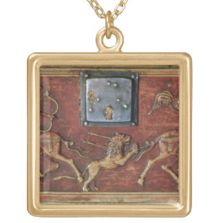Lion Hunt, plaque from a Byzantine casket, 11th ce Gold Plated Necklace