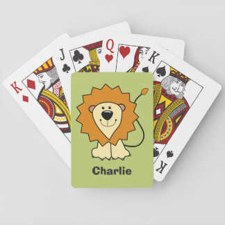 Lion illustration custom name kid's playing cards