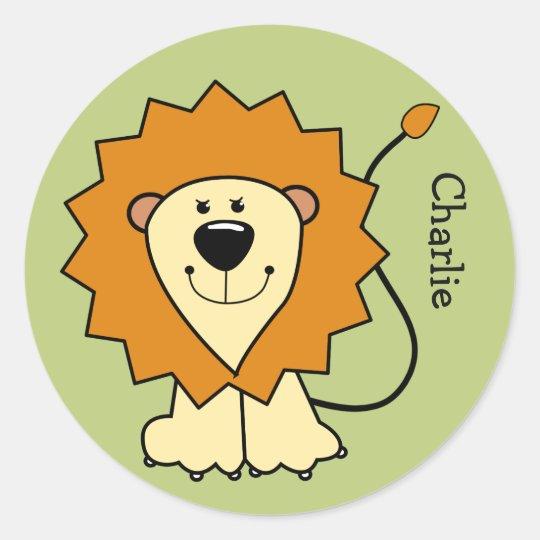 Lion illustration custom name kids' stickers