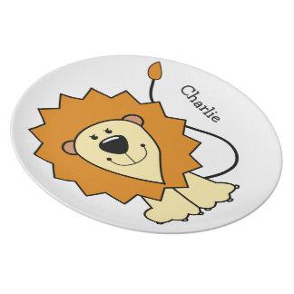 Lion illustration custom name melamine plate