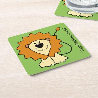 Lion illustration custom text paper coasters