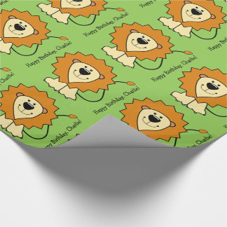 Lion illustration custom text wrapping paper