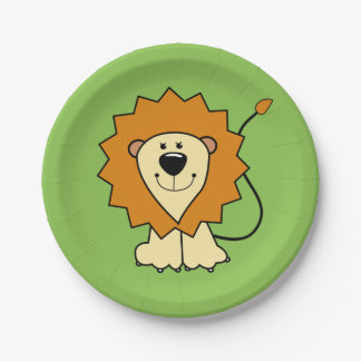 Lion illustration kids' paper plates 7 inch paper plate