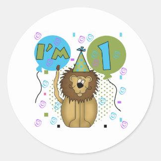 Lion I'm 1 First Birthday Round Sticker