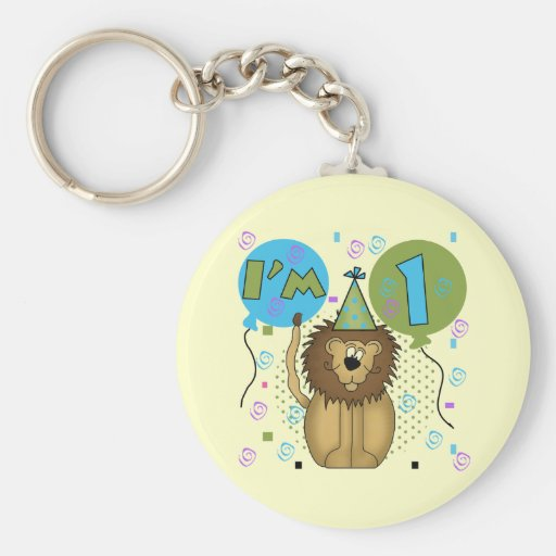 Lion I'm 1 First Birthday Tshirts and Gifts Keychains