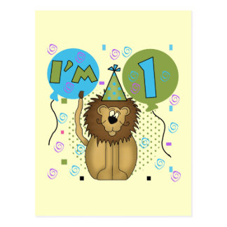 Lion I'm 1 First Birthday Tshirts and Gifts Postcard