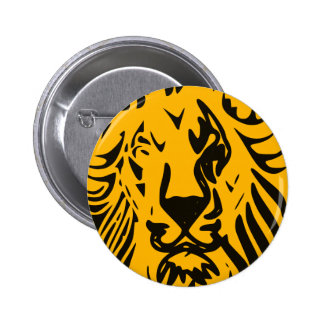 Lion in abstract lines 6 cm round badge