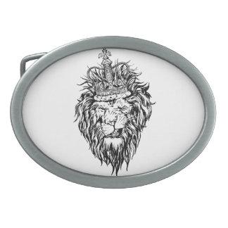 Lion in crown belt buckles