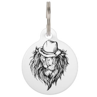 Lion in hat pet tag