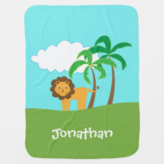 Lion in Jungle with Palm Trees Personalized Baby Blanket