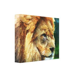 Lion In Nature Impressionist Art Canvas Print
