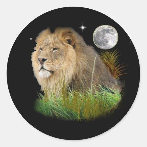 Lion in the Jungle Round Sticker