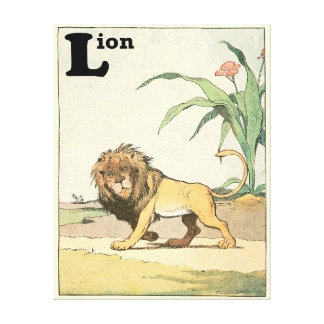 Lion in the Jungle Story Book Canvas Print