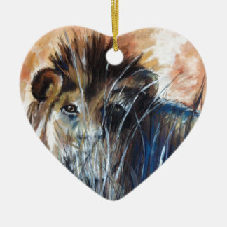 Lion in wait ceramic heart decoration