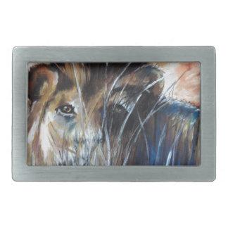 Lion in wait rectangular belt buckles