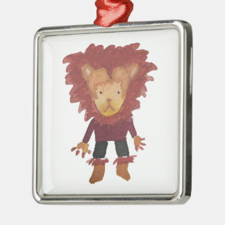 Lion Jungle Friends Baby Animal Water Color Silver-Colored Square Decoration